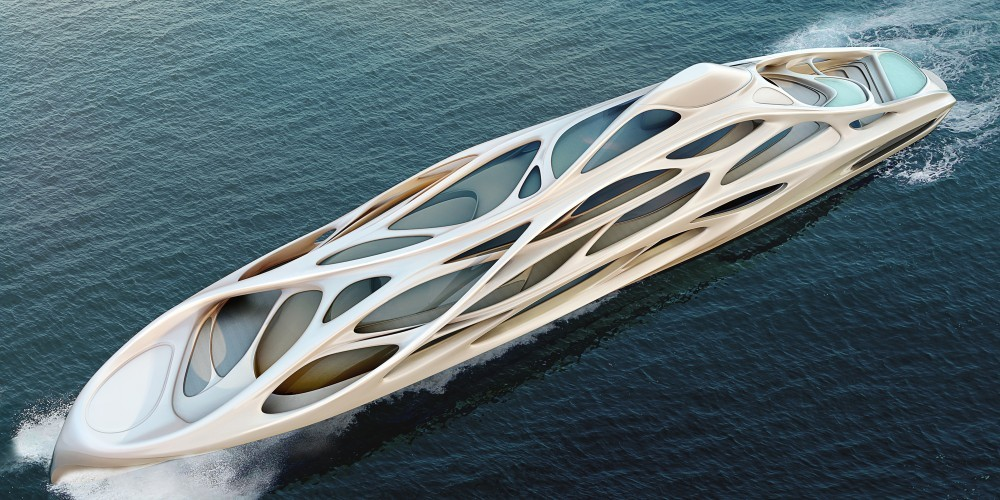 "Why 3D Printing Is Not As Sustainable As Its Defenders Say, Yacht designed by Zaha Hadid. Could 3D Printing ""someday make Hadid-like forms so cheap to execute that they become mundane""?. Image © Unique Circle Yachts / Zaha Hadid Architects for Bloom+Voss Shipyards"