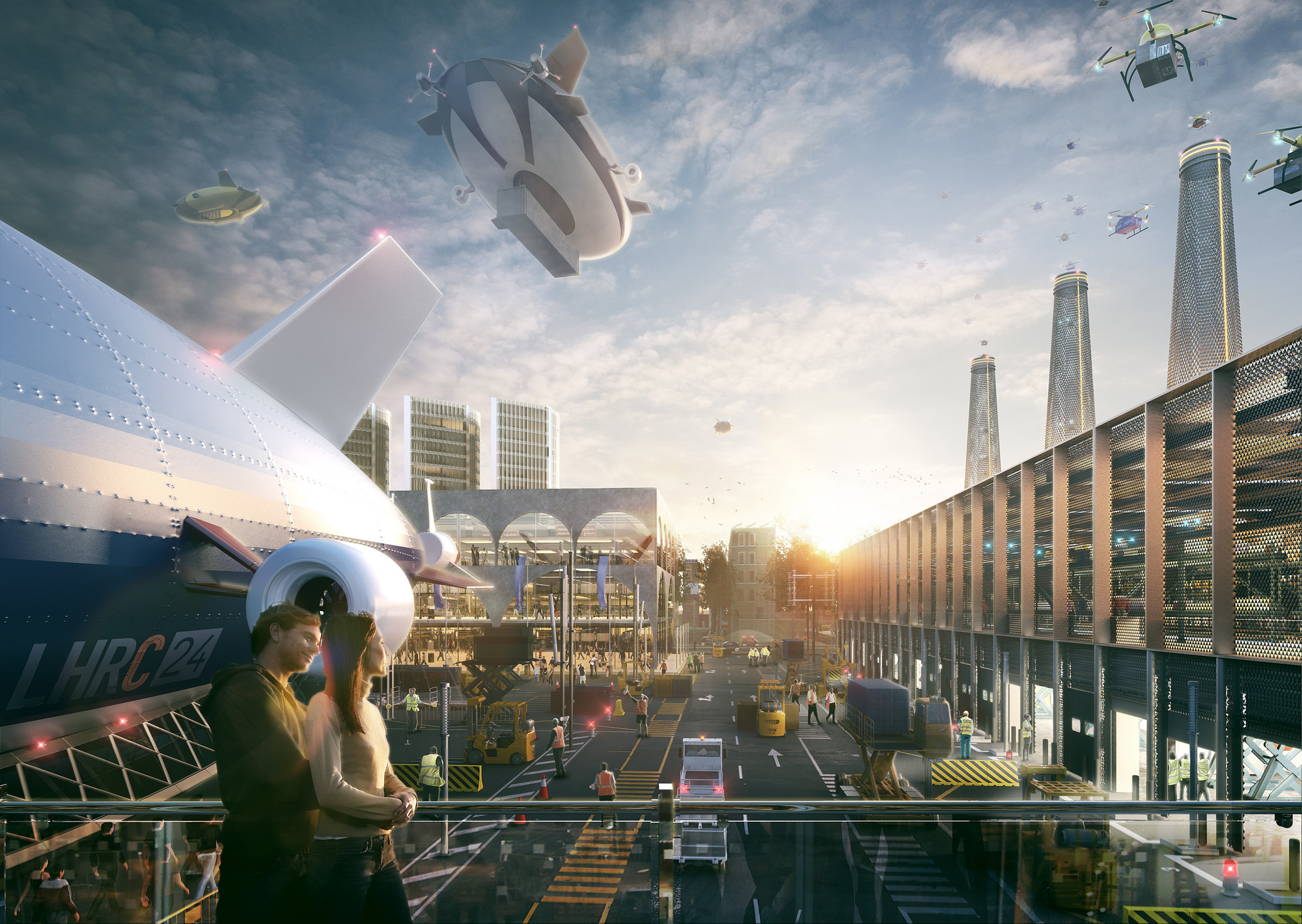 Mayor of London Unveils Three Visions for the Future of Heathrow, 'Romance of the Sky' proposal / Hawkins\Brown. Image © Factory Fifteen