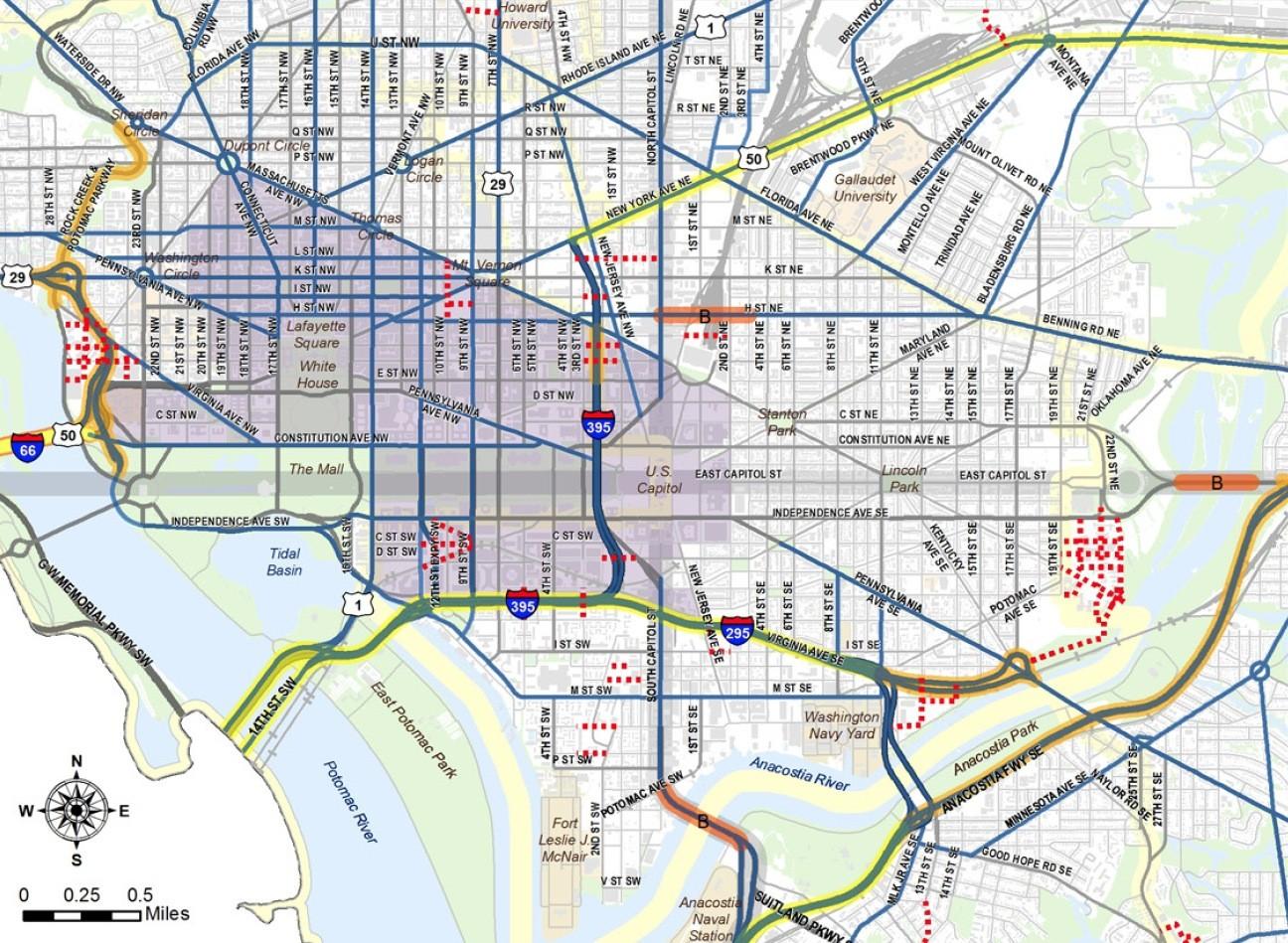 Novo plano de transporte de Washington cogita implementar tarifação viária no centro financeiro da cidade, Proposta para o perímetro de tarifação viária em Washington, D.C., EUA