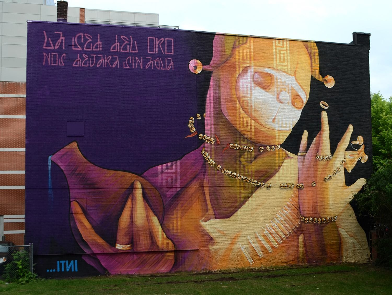 """Os melhores grafites do """"Mural Festival 2014"""", """"A sede de ouro nos deixará sem água"""" Mural do INTI para o Mural Festival 2014. Via Facebook"""