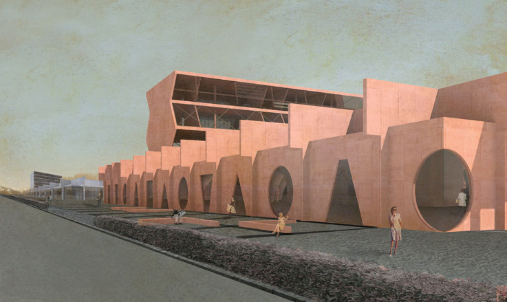 Competition Entry Proposes Colorful Duo of Museums for Budapest, Exterior of the Architecture Museum. Image © IaN+