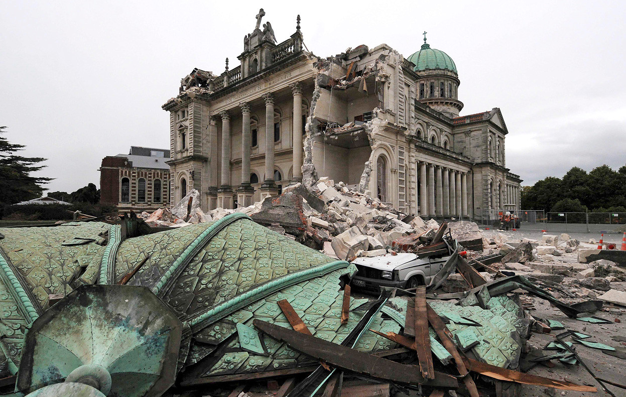 Christchurch Launches Competition to Design Earthquake Memorial, Christchurch Cathedral, after being destroyed by the 2011 earthquake. Image © NZPA / David Wethey