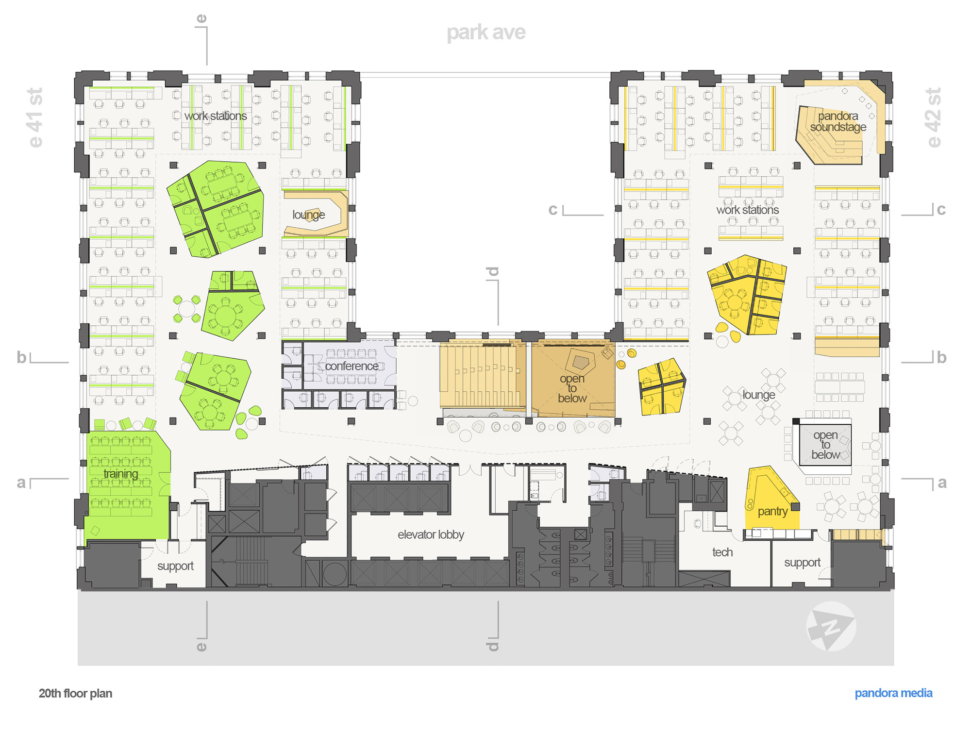 Gallery of pandora media inc new york office aba studio for Office layout plan design