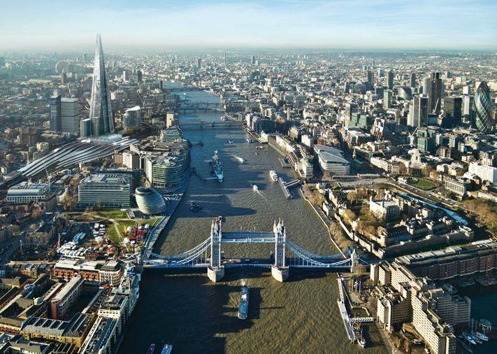 Yahoo cria GPS que escolhe as rotas mais belas ao invés das mais curtas, Vista aérea de Londres. Cortesia de vejapixel