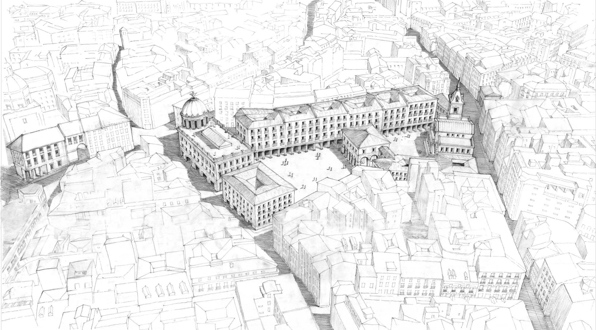 Equipo académico internacional propone alternativa urbana a futuro mall en Madrid, Perspectiva general. Image Courtesy of Equipo desarrollador