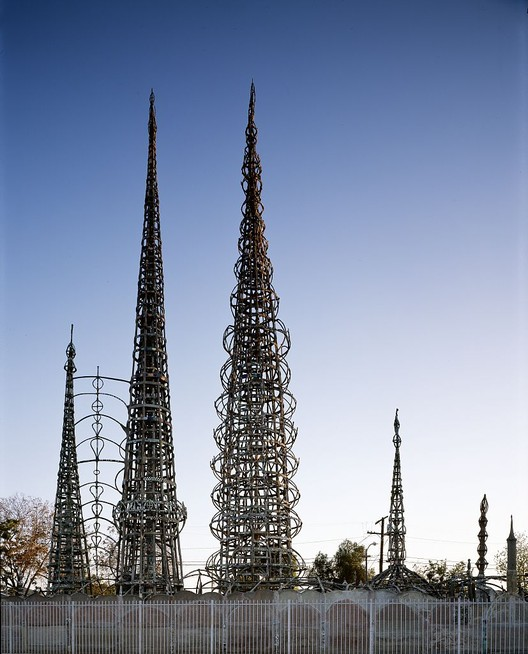 Gehry to Design Campus for Non-Profit in Los Angeles Neighborhood, Watts Tower.  Image via <a href='https://creativecommons.org/licenses/by-sa/3.0/'>Wikimedia</a>