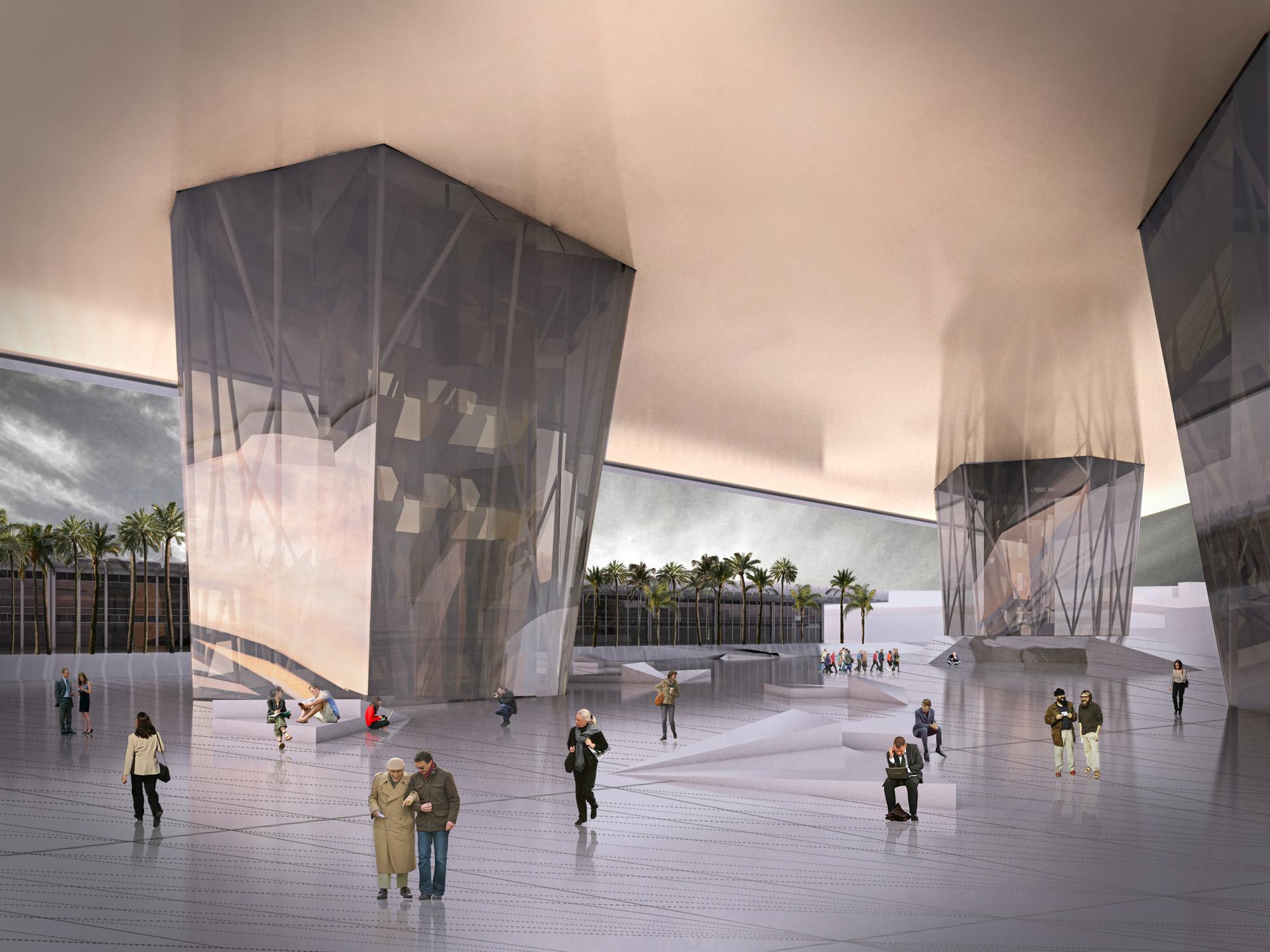 Primeiro Lugar no Concurso para o Centro Administrativo de Belo Horizonte / GPA&A , Praça coberta. Image Courtesy of GPA&A