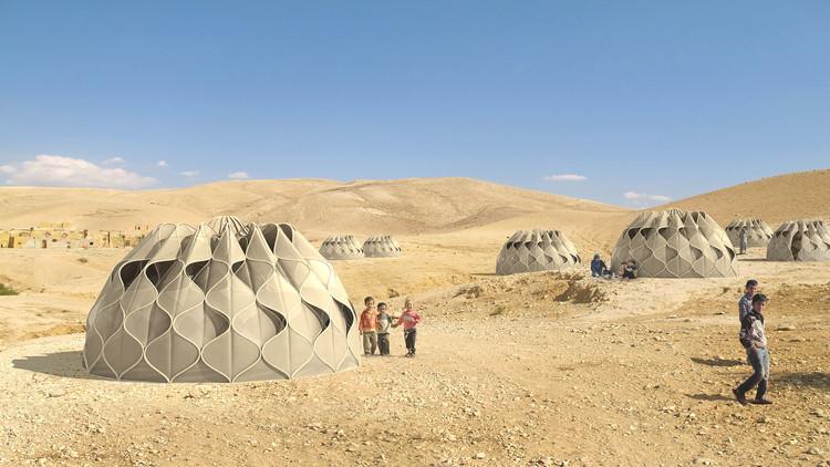 Em detalhe: Tecido estrutural para construções de emergência, Cortesia de Abeer Seikaly