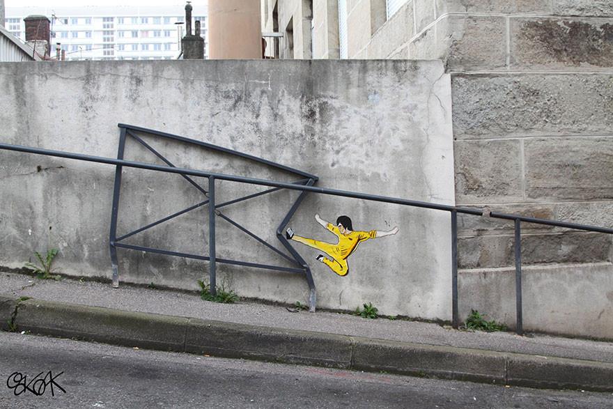 Intervenções artísticas que interagem com as ruas de Saint Etienne, França, © OAKOAK
