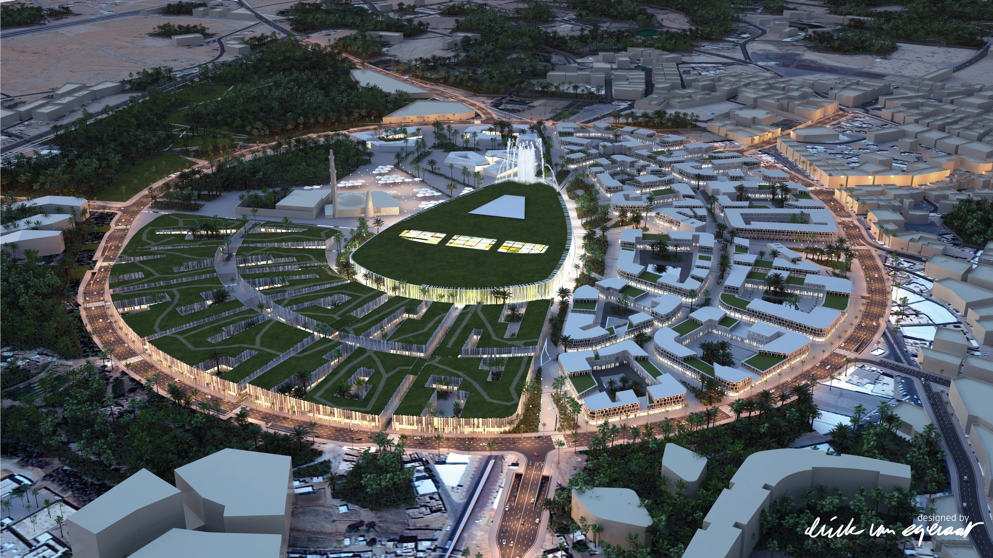 Erick van Egeraat Designs Pedestrianized City Center in Saudi Arabia, Aerial View. Image © (designed by) Erick van Egeraat BV