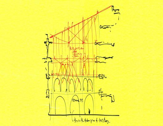 Croqui por Renzo Piano do esquema para os Museus de Arte de Harvard mostrando a adição em vidro cortado diretamente sobre o pátio Montepulciano. Imagem © Paul Clemence