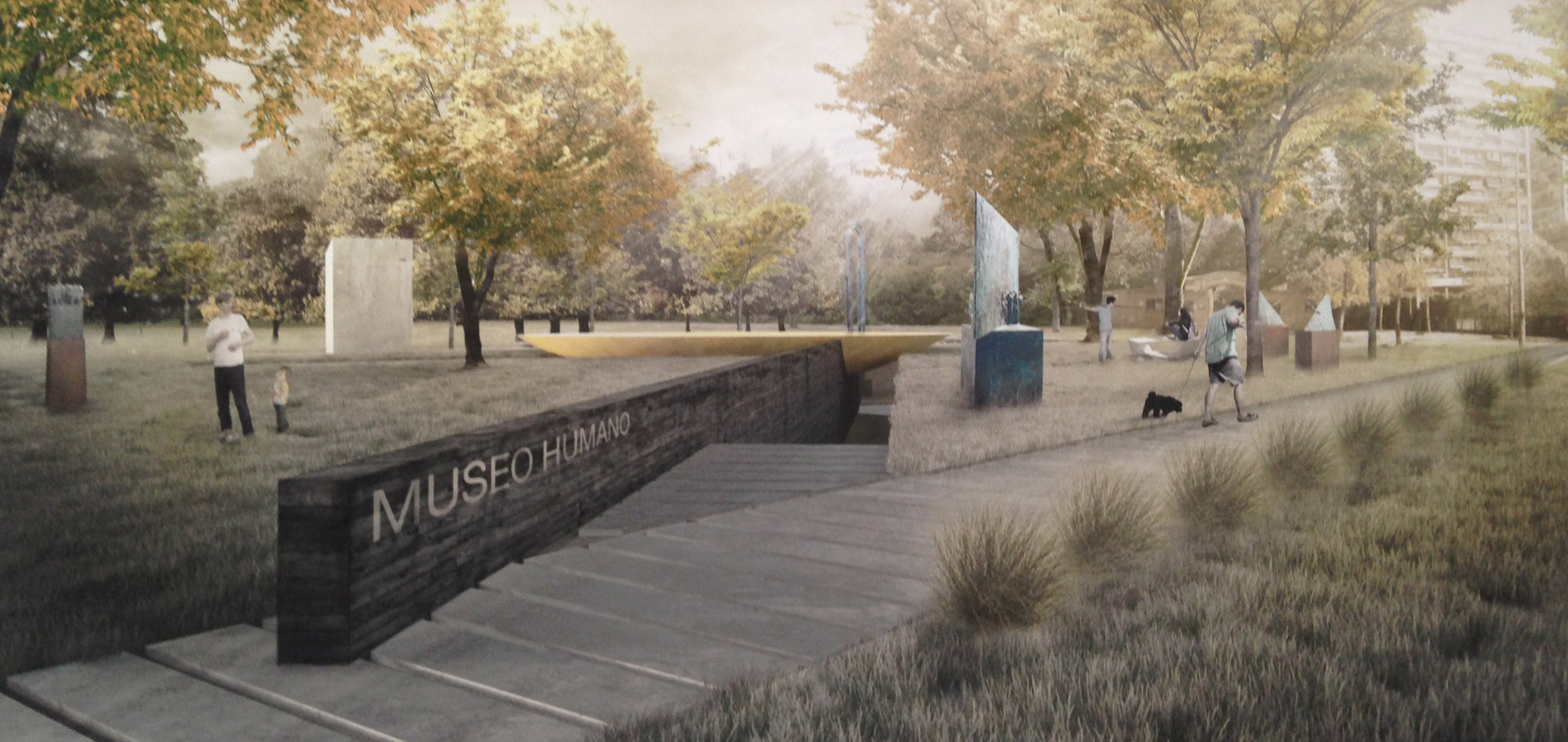 Cinco proyectos seleccionados para el diseño del nuevo Parque Museo Humano San Borja, en Santiago de Chile, Render Propuesta Bbats + Tirado. Image © Plataforma Arquitectura
