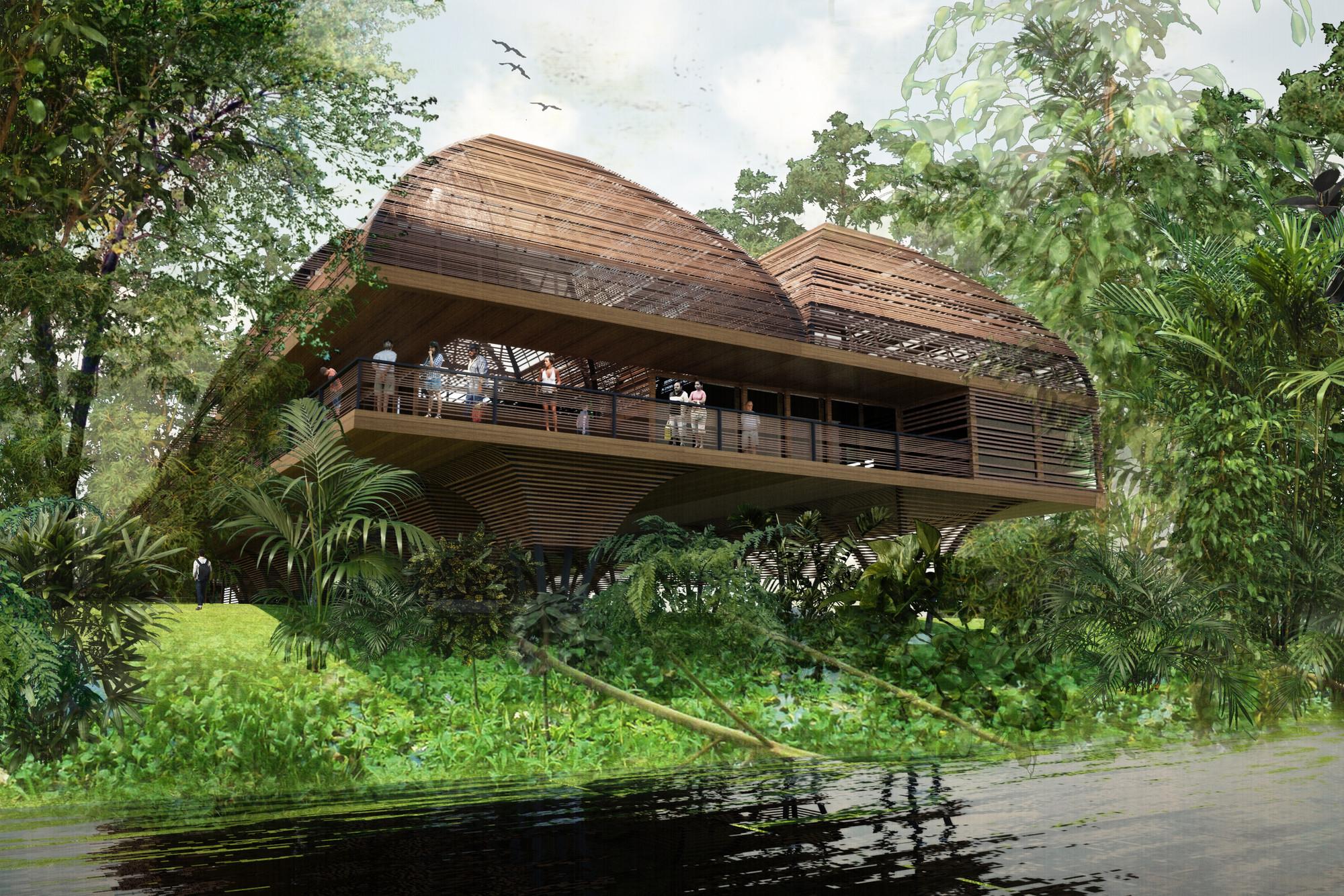 Primer Lugar en concurso nacional de diseño de Universidad Regional de la Región Amazónica IKIAM / Ecuador, Courtesy of Del Hierro AU, Estudio A0 y L + A