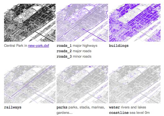 Arquivos de CAD gratuitos das 241 maiores cidades do mundo, Imagem dos layers do arquivo da cidade de Nova Iorque via bdon.org