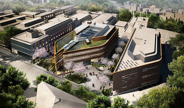 Make Architects Reveal Big Data Institute for University of Oxford , Northern Aerial View. Image Courtesy of Make Architects, rendering by Caravan Images