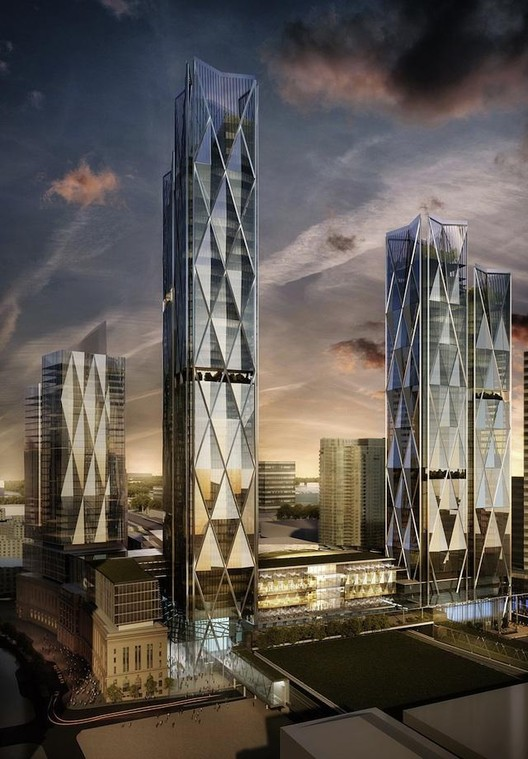 Looking Southwest toward the development. Image © Wilkinson Eyre Architects for Hines; via UrbanToronto.ca
