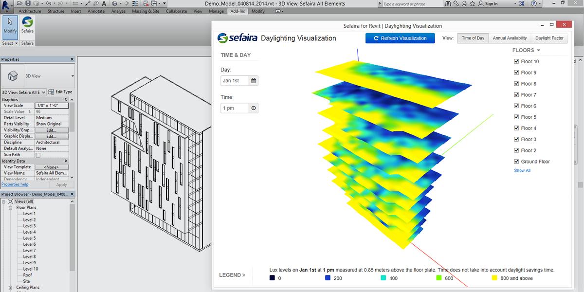 Sefaira Announces Real-Time Daylight Visualisation Tool for AutoDesk Revit, Daylight Visualisation alongside BIM. Image Courtesy of Sefaira