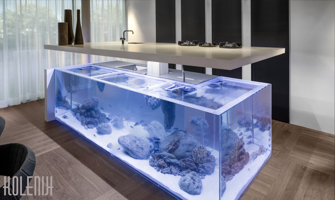 Island with a View: Dutch Kitchen Incorporates Elegant Aquarium , Courtesy of Rene van Dongen