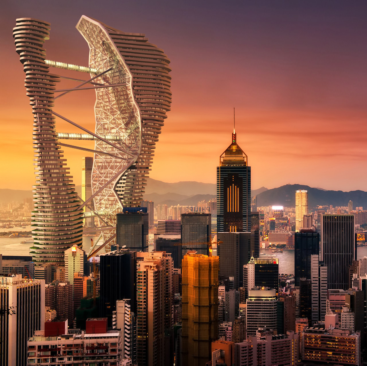 Studio CTC Imagines Terraced Twin Skyscrapers in Hong Kong, © Studio CACHOUA TORRES CAMILLETTI