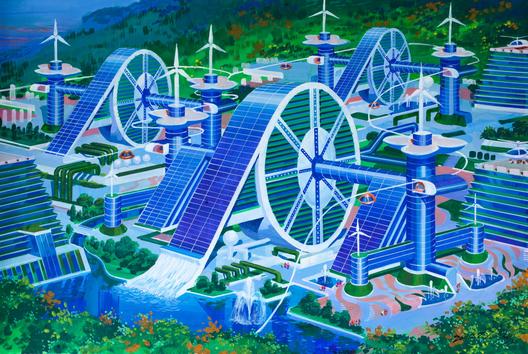 Sede cooperativa cubeirta con paneles solares fotovoltáicos, una de las ilustraciones exhibidas en el Pabellón de Corea del Sur en Venecia. Imagen cortesía de Koryo Tours