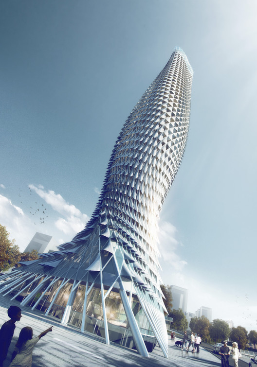 RMJM Designs Fish-Inspired Tower Clad with Aluminum Scales , View from Below. Image Courtesy of RMJM