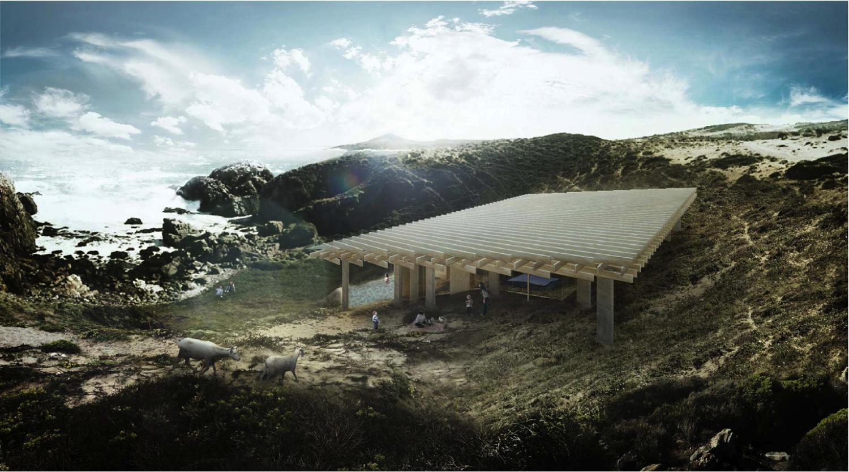 Arquitetos chilenos e japoneses trabalham em conjunto para a próxima etapa de Ochoalcubo, Proposta de Kengo Kuma. Imagem Cortesia de HLPS