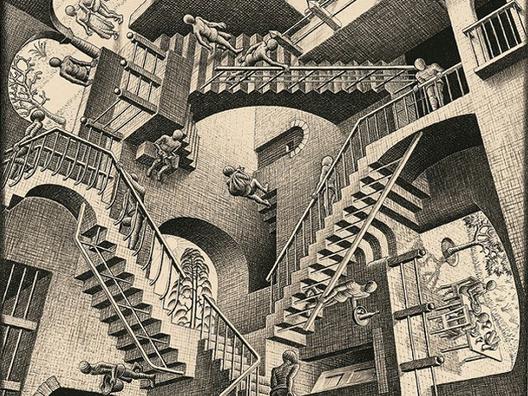 """Exposição """"Experiência Escher"""" em Campinas, Relatividade. Cortesia de mondomoda.com"""