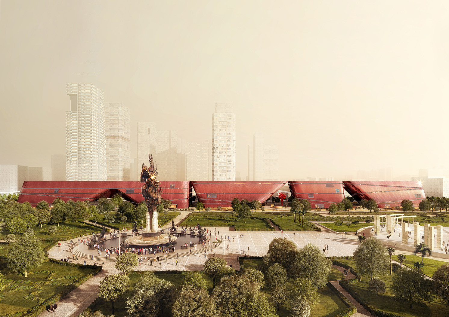 Mecanoo Begins Work on Vast Cultural Centre in Shenzhen, Courtesy of Mecanoo / Christopher Malheiros Architectural Visualization