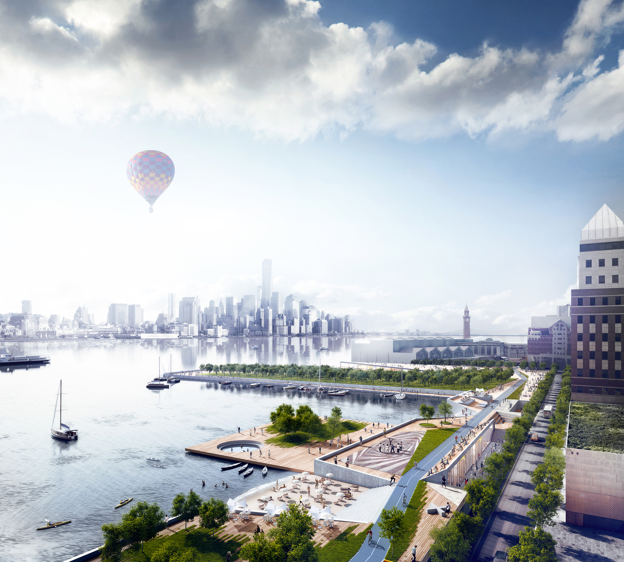 "The Rockefeller Foundation Kicks Off its 100 Resilient Cities Challenge, OMA's proposed Hoboken Waterfront for the ""Rebuild by Design"" competition, which focused on resilience, sustainability and livability. Image © OMA"
