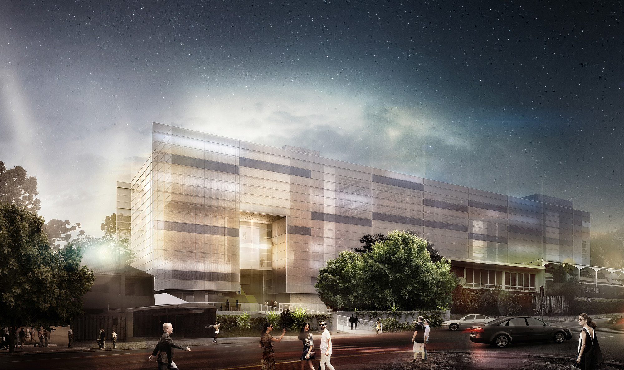 Primeiro lugar no concurso para Nova Sede do Clube Curitibano / Arqbox Arquitetura , Fachada principal. Image Courtesy of Arqbox