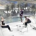 Café e vista para as piscinas. Image Courtesy of Arqbox