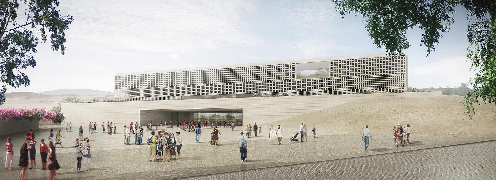 Primer Lugar en concurso de ideas para el Museo Nacional del Perú, Explanada de acceso. Image Courtesy of Alexia León Angell