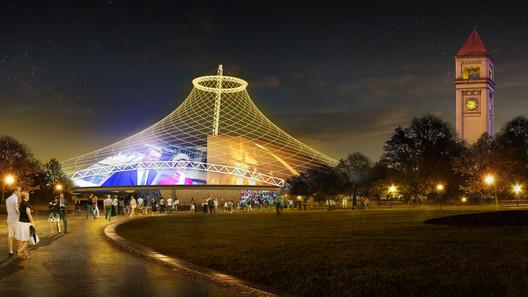 Concept design for reuse of U.S. Federal Pavilion. Image © Olson Kundig Architects
