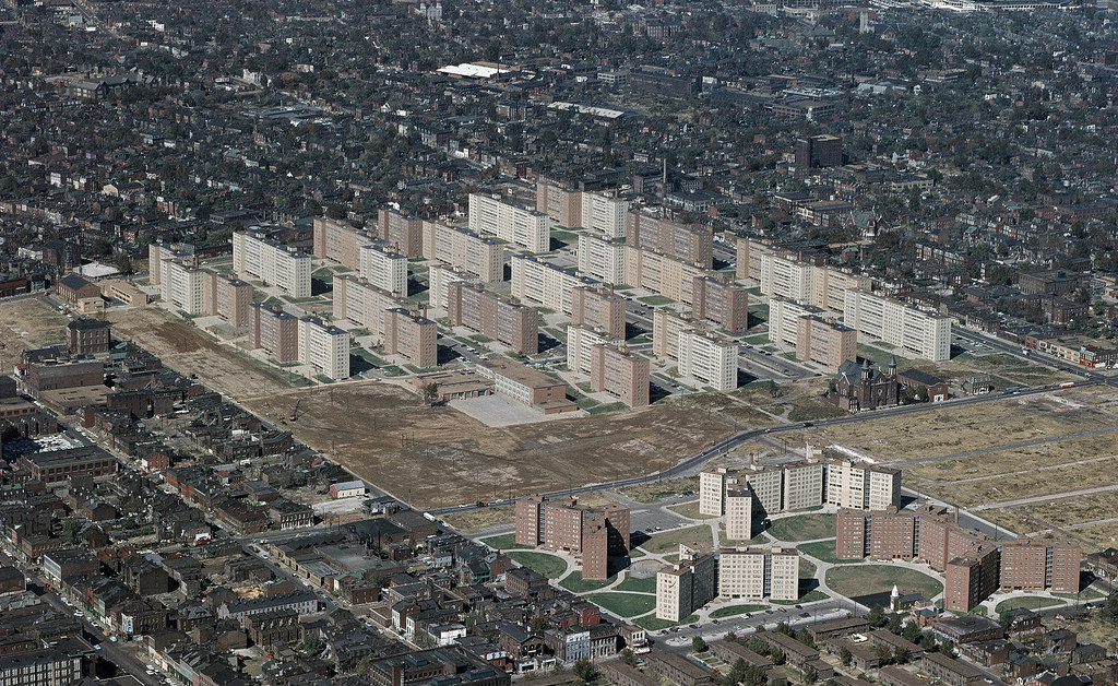 Understanding St Louis: The Activism of Bob Hansman, Pruitt Igoe was just one step of the process that led to St Louis' current state. Image by US Geological Survey via Flickr CC User Michael Allen. Used under <a href='https://creativecommons.org/licenses/by-sa/2.0/'>Creative Commons</a>