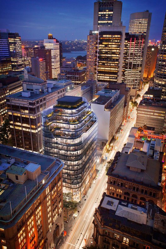 Grimshaw Unveils Sustainable Glass Office Building in the Heart of Sydney, View from Above. Image Courtesy of Grimshaw Architects and Crone Partners