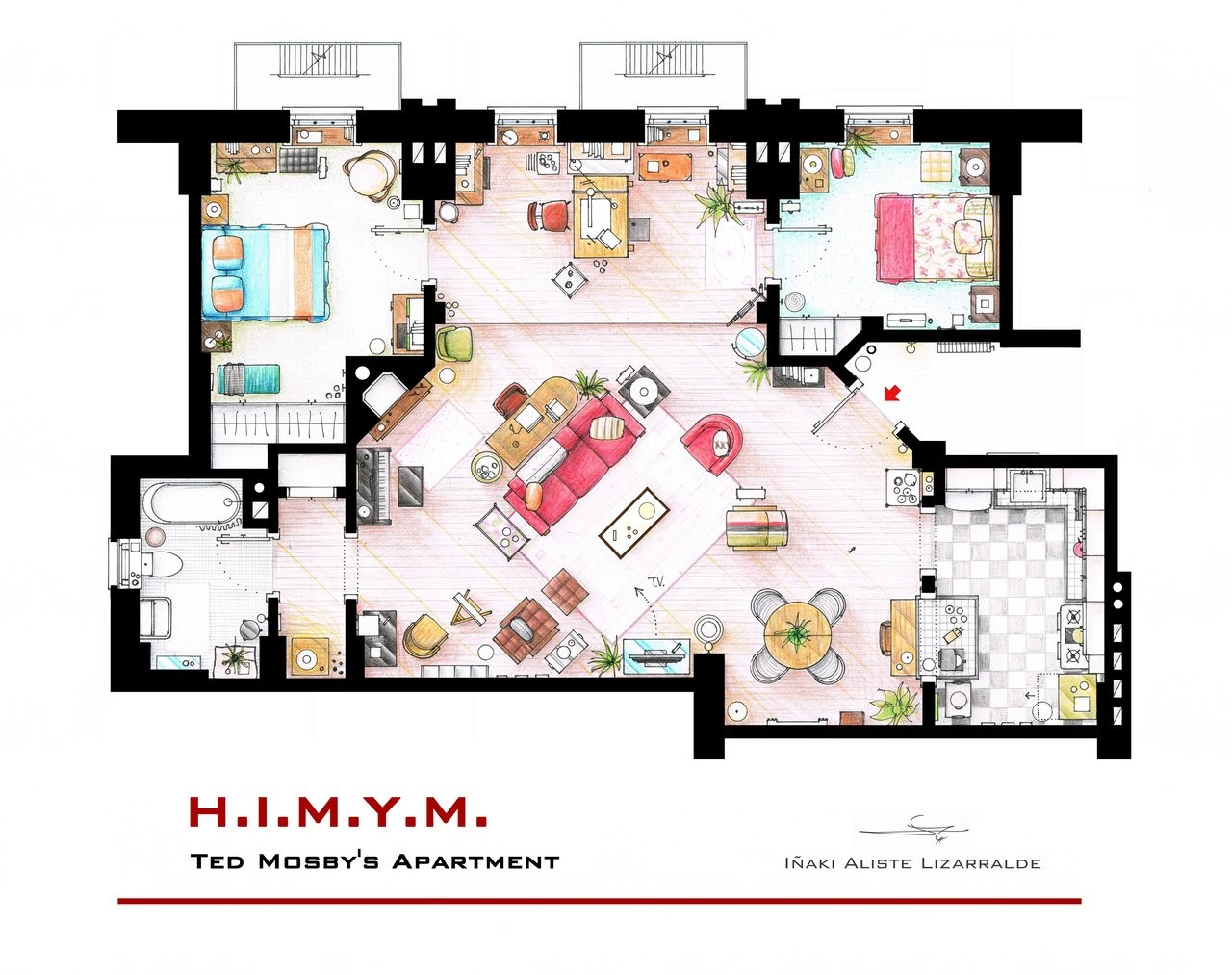 Famous Apartments From Friends To Frasier 13 Famous Tv Shows Rendered In Plan .