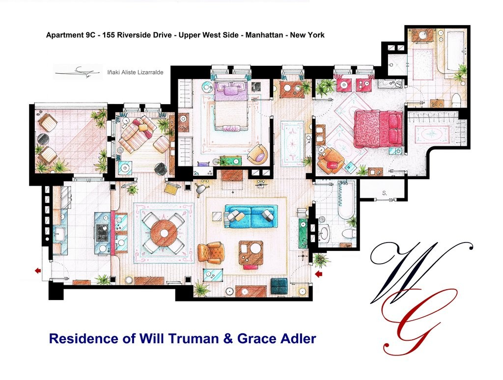 Apartment Of Will Truman And Grace Adler By Nikneuk D Jfkv on How To Draw Shadows In A Floor Plan
