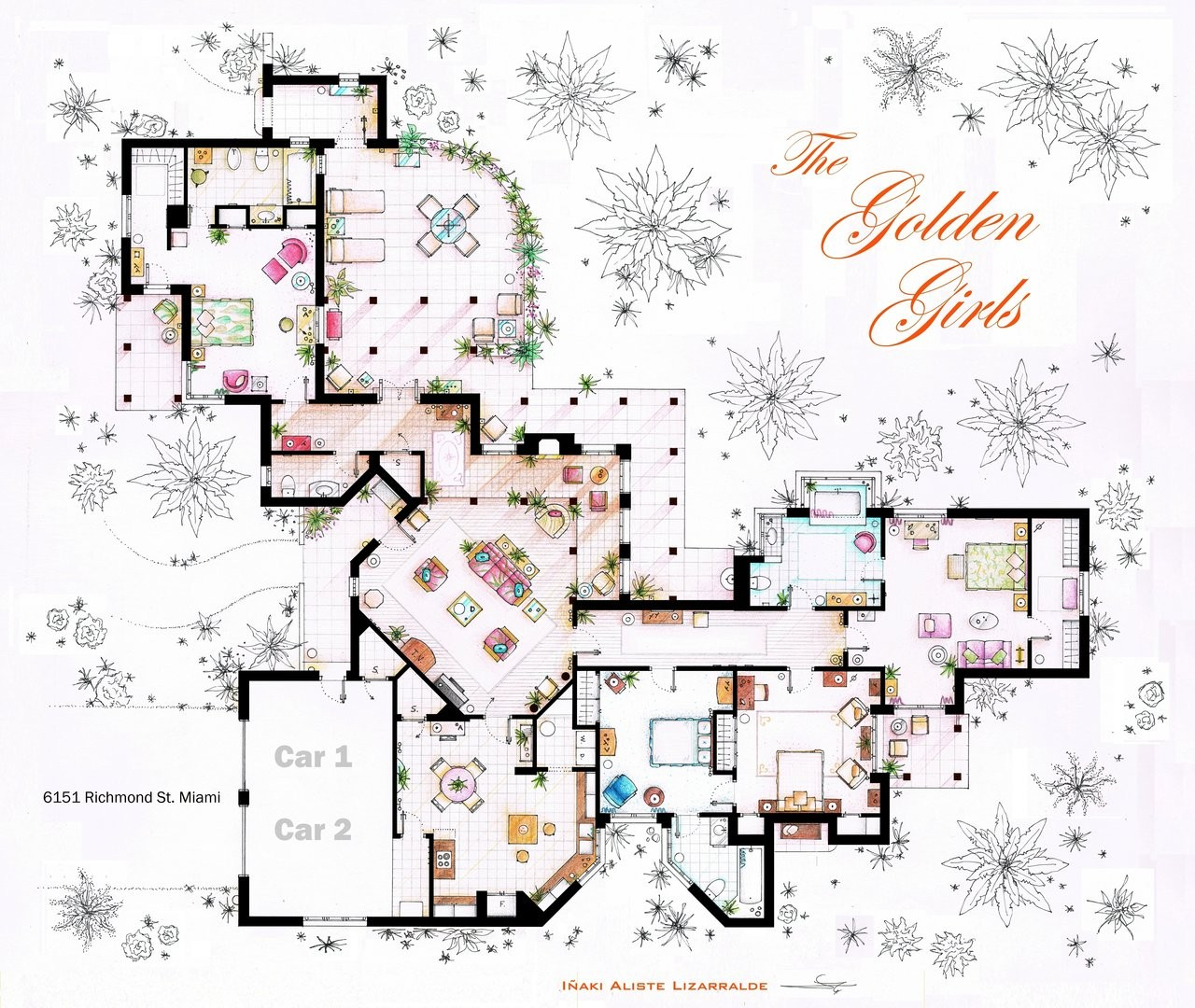 From Friends to Frasier 13 Famous TV Shows Rendered in Plan – Floor Plans Of Tv Homes