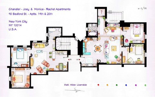 "Floorplan of the apartments from ""Friends"". Image © Iñaki Aliste Lizarralde"
