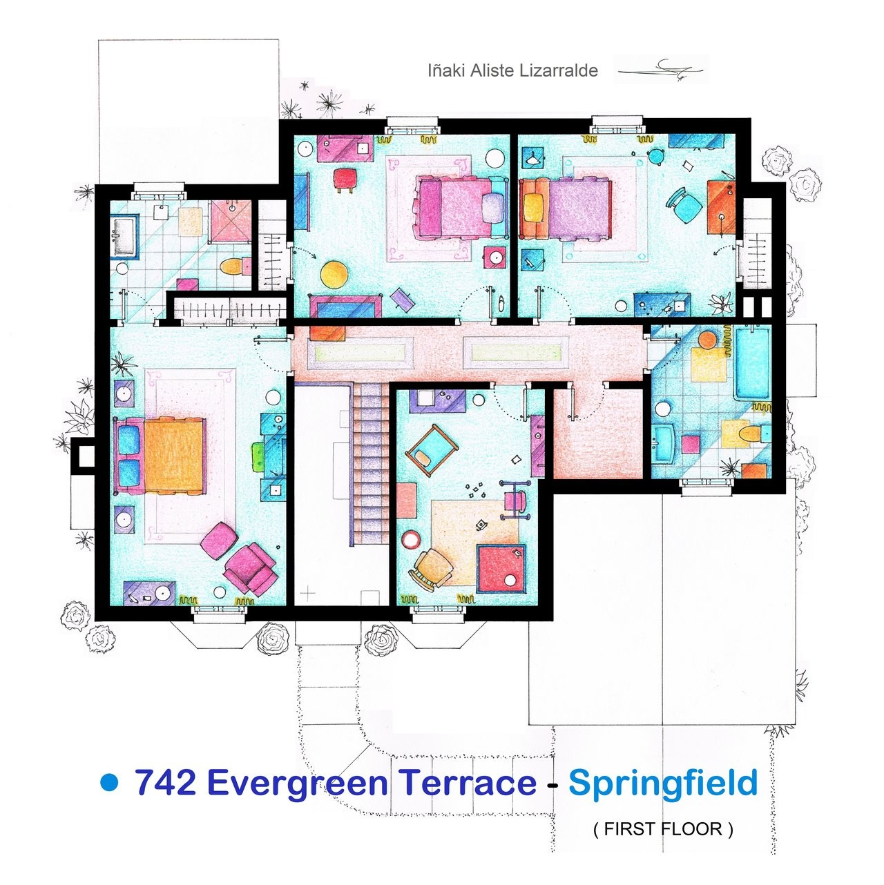 From friends to frasier 13 famous tv shows rendered in for Family home floor plans