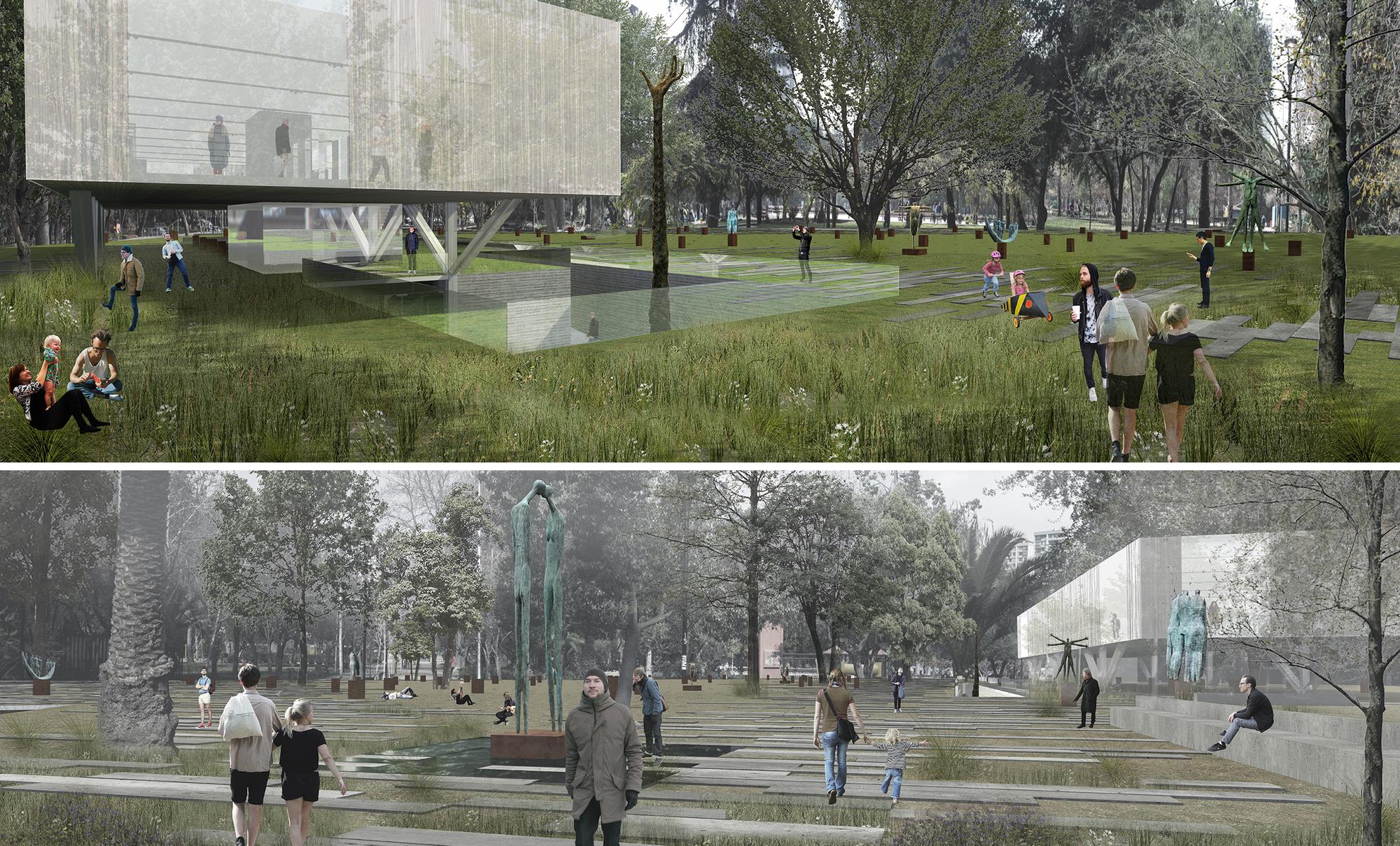 Propuesta de Prado Arquitectos en concurso Nuevo Parque Museo Humano San Borja / Santiago, Courtesy of Prado Arquitectos