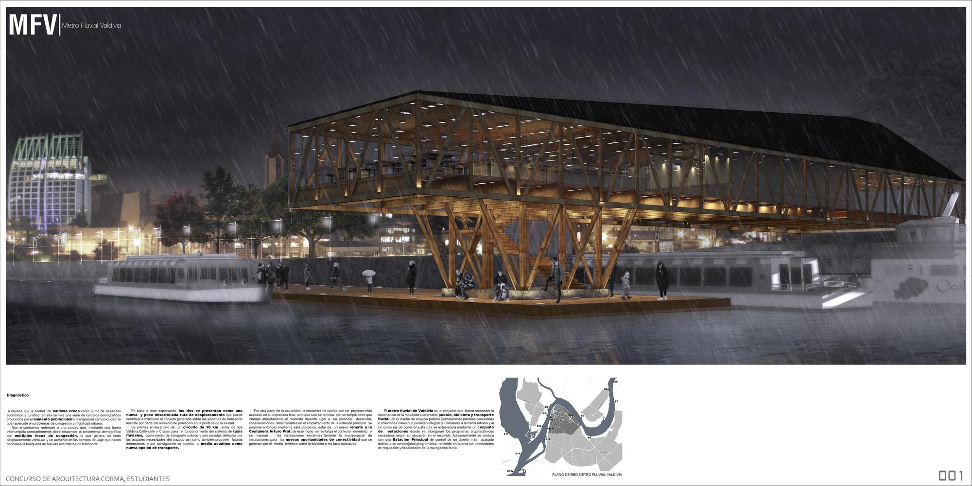 Primer Lugar IX Concurso CORMA, Infraestructura para la movilidad urbana / USACH, Lámina 01. Image Cortesia de Equipo Primer Lugar