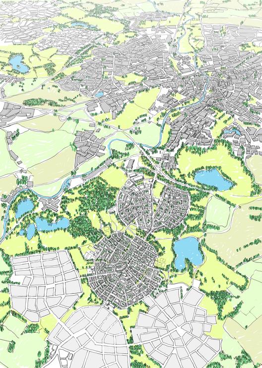 Richard Rogers critica propostas de cidades jardins no Reino Unido, Proposta do URBED que venceu o Wolfson Economics Prize. Cortesia de URBED