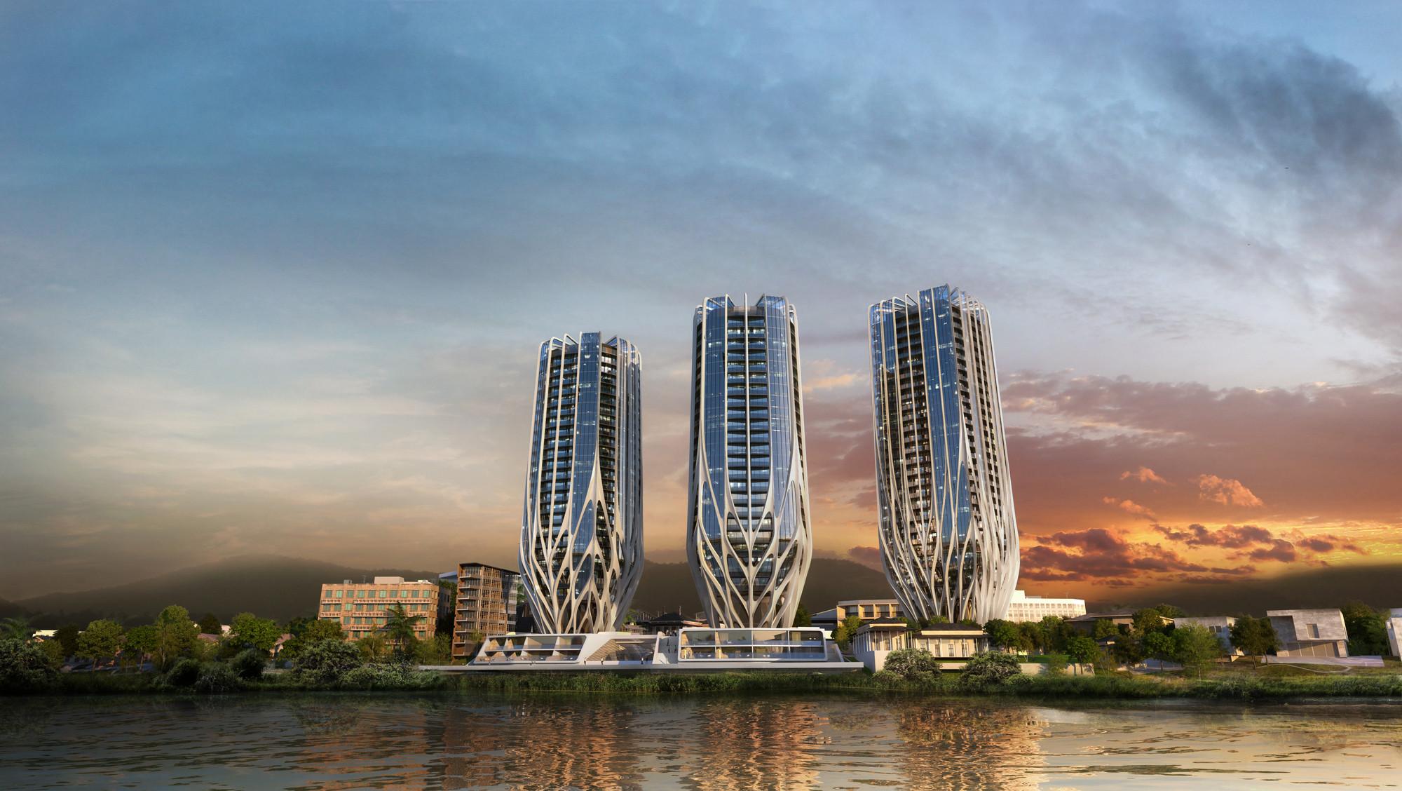 """Zaha Hadid diz que """"adoraria fazer uma torre em Londres"""", Projeto recentemente divulgado de três torre em Brisbane, por Zaha Hadid Architects. Imagem © Zaha Hadid Architects"""