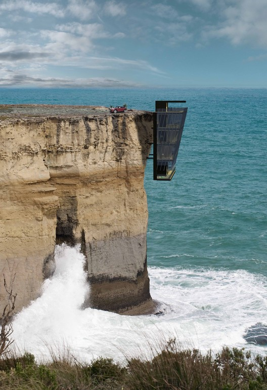 Jump Off A Cliff and Land in Bed in this Edgy Australian Home, Exterior View. Image Courtesy of Modscape