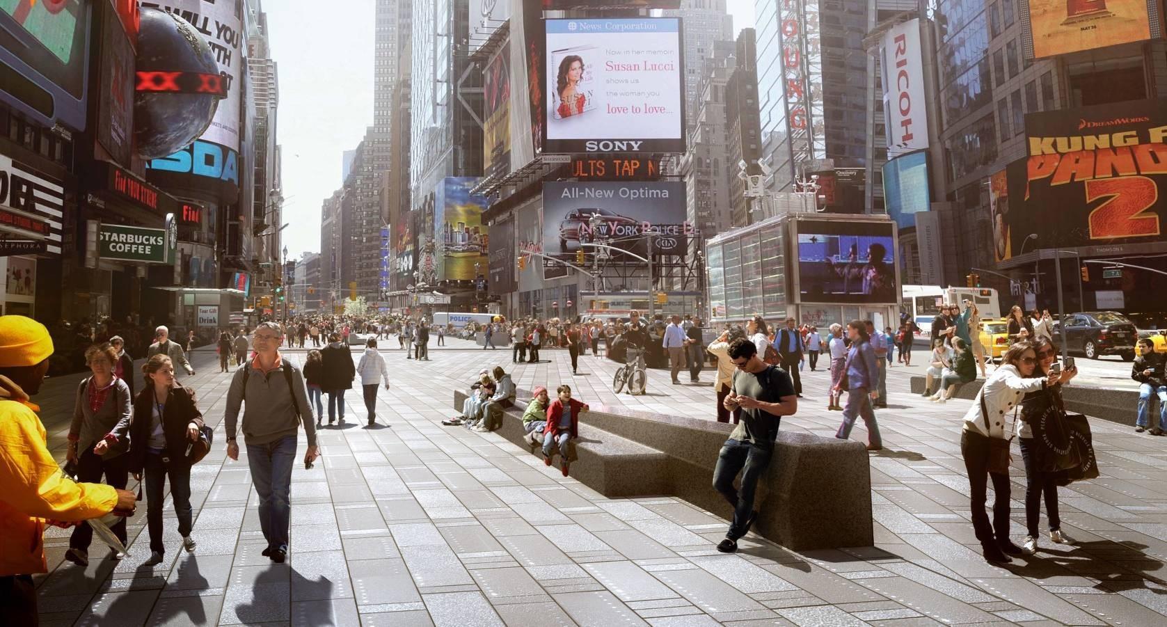 """Evento """"Conexão Rio - New York com Janette Sadik-Khan"""", no IAB-RJ, Projeto do escritório Snøhetta, realizado durante a gestão de Janette Sadik-Khan, que faz da Times Square uma rua permanentemente de pedestres. Cortesia de Snøhetta"""