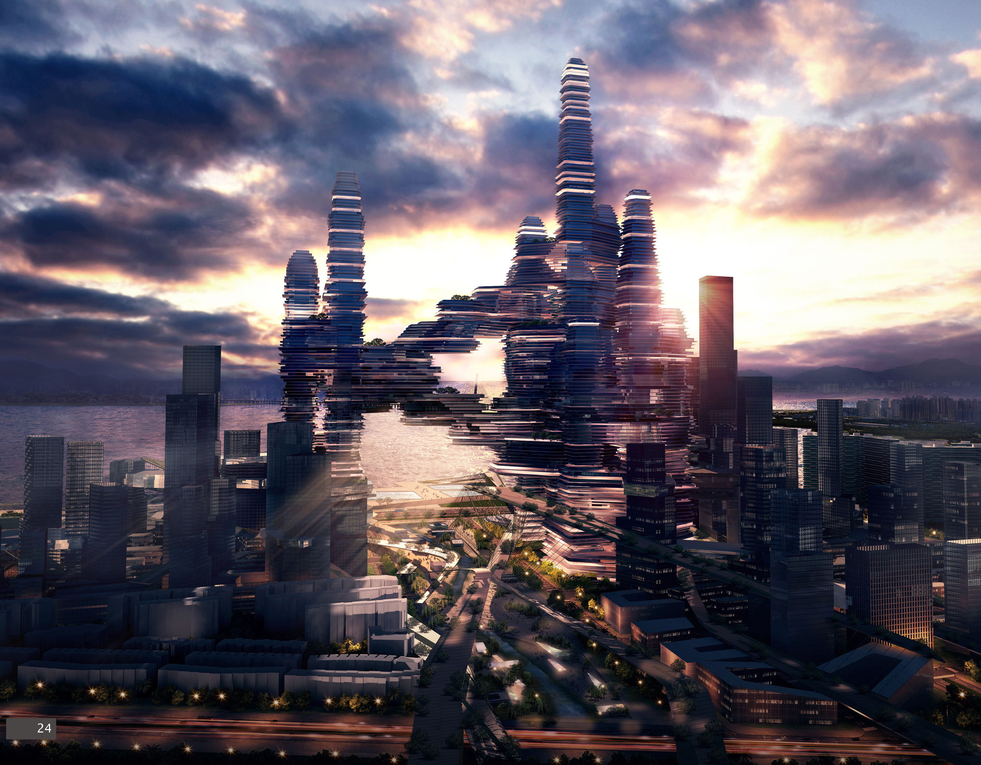 """Cloud Citizen"" Awarded Joint Top Honors in Shenzhen Bay Super City Competition , Courtesy of Urban Future Organization and CR-Design"
