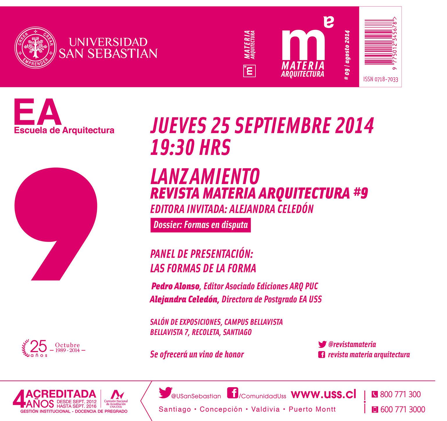 Lanzamiento revista Materia Arquitectura #9, Cortesia de Revista Materia Arquitectura