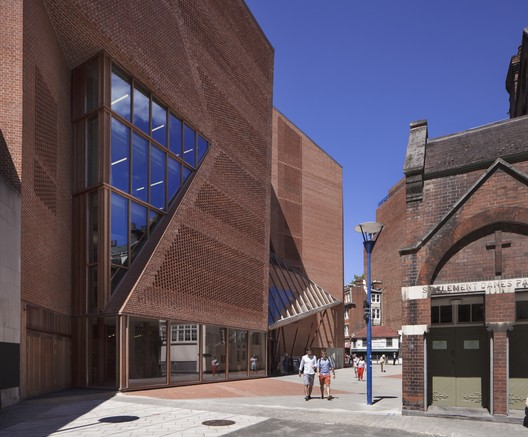 The LSE Saw Swee Hock Student Centre, which has been shortlisted for this year's Stirling Prize. Image © Alex Bland