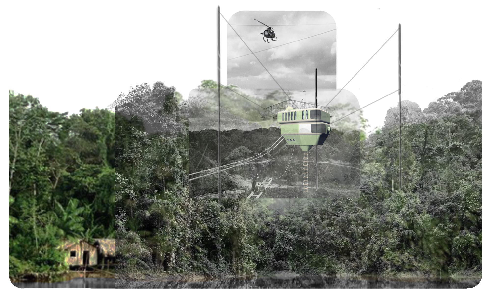 Tercer Lugar en Concurso de Ideas Nature Observatory of Amazonia (NOA) / Brasil , Cortesia de Aida Salán